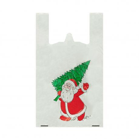 Reklamówki jednorazowe świąteczne 30+2f8/55cm 46x55cm 0,013 100szt HD PE nadruk mikołaj